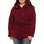 Ymi Belted Fleece Jacket-Juniors Plus