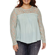 Arizona Lace Sleeve Peasant Top- Juniors Plus