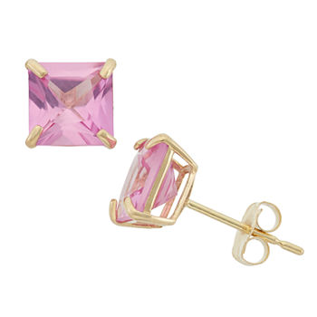 Lab Created Pink Sapphire 10k Gold 6mm Stud Earrings