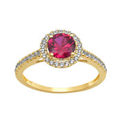 Lab-Created Ruby and White Sapphire 10K Yellow Gold Halo Ring