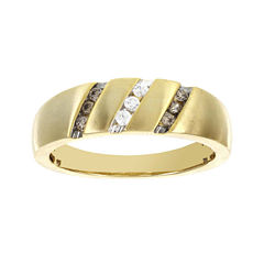 Mens 1/4 CT. T.W. White and Champagne Diamond 10K Yellow Gold Ring