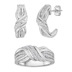 1/10 CT. T.W. Diamond Sterling Silver Crossover Earring and Ring Set