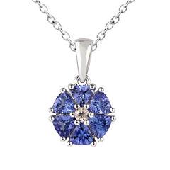 Womens Purple Tanzanite Sterling Silver Pendant Necklace