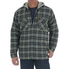 WRANGLER RIGGS HOODED FLANNEL SHIRT JACKET BAT