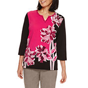 Alfred Dunner Theater District 3/4 Sleeve Print Top