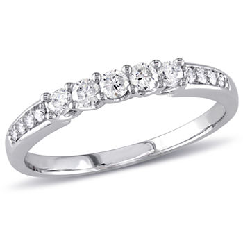 Womens 13 Ct Tw Genuine White Diamond 14k White Gold Anniversary Band