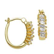 Sparkle Allure White Topaz Hoop Earrings