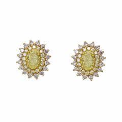 1 1/2 CT. T.W. Pear Yellow Diamond 18K Gold Stud Earrings