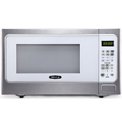 Bella 1000-Watt  Stainless Steel and White Microwave Oven, 1.1 Cubic Feet