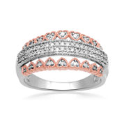 Falling for You 1/7 CT TW Diamond 14K Rose Gold Over Sterling Silver Heart Ring