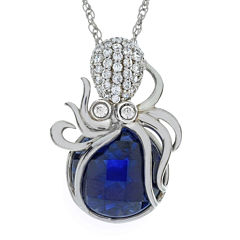 Lab-Created Blue Sapphire Octopus Pendant Necklace