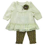 Nanette Long-Sleeve Creeper, Skirt & Leopard-Print Leggings Set - Baby Girls