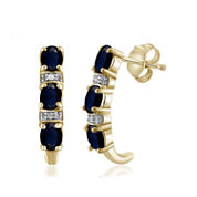 Diamond Accent Blue Sapphire 14K Gold Over Silver Drop Earrings