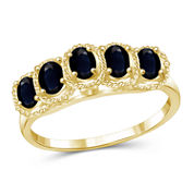 Womens Blue Sapphire Gold Over Silver Side Stone Ring