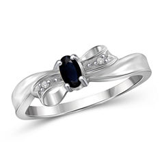 Womens Diamond Accent Blue Sapphire Sterling Silver Delicate Ring