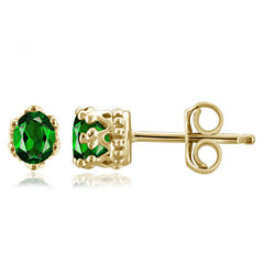 Oval Green Chrome Diopside 14K Gold Over Silver Stud Earrings