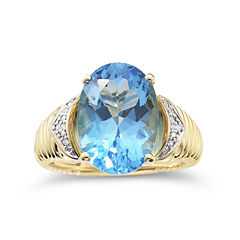 Womens 1/3 CT. T.W. Blue Topaz Gold Over Silver Cocktail Ring