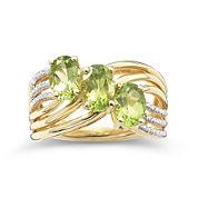 14K Gold-Plated 3-Stone Peridot & Diamond-Accent Ring