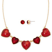 Liz Claiborne® Red Crystal Heart Earring and Necklace Set