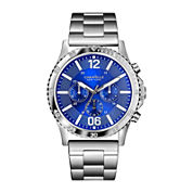 Caravelle New York® Mens Blue Dial Silver-Tone Bracelet Watch 43A116