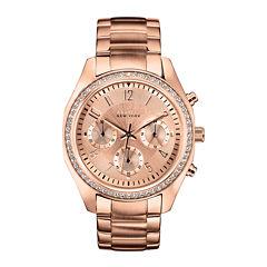 Caravelle New York® Womens Rose-Tone Bracelet Chronograph Watch 44L117