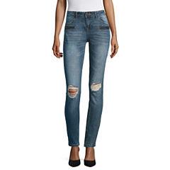 Vanilla Star Destructed Zipper Front Motto Skinny Jeans-Juniors