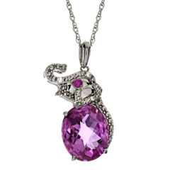 Lab-Created Pink Sapphire, Ruby & White Sapphire Elephant Pendant Necklace