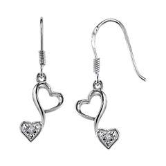 Love Grows™ Sterling Silver 1/10 CT. T.W. Diamond Double-Heart Drop Earrings