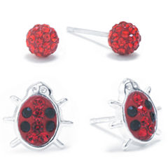 Silver Treasures 2-pc. Red Sterling Silver Earring Sets