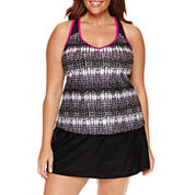 ZeroXposur Knit Mesh Action Tankini or Knit Action Skirtini - Plus