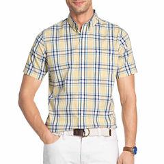 IZOD Advantage Perfromance Short Sleeve Plaid Button-Front Shirt