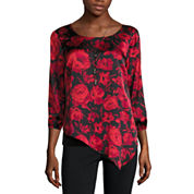 Alyx Long Sleeve Scoop Neck Charmeuse Blouse