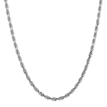 14k White Gold 22 Inch Rope Chain Necklace