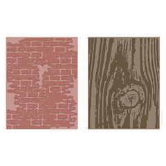 Sizzix® Texture Fades Embossing Folders, Bricked & Woodgrain 2-pk.
