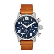 Relic Mens Brown Strap Watch-Zr15885