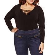 Bisou Bisou Long Sleeve Lace-Up Knit Bodysuit-Plus