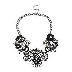 Mixit™ Black Lace Flower Statement Necklace