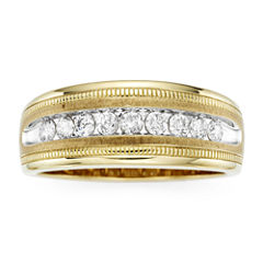Mens 1/2 CT. T.W. Diamond 10K Yellow Gold Milgrain Ring