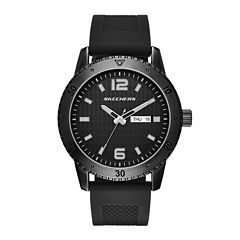 Skechers® Mens Black Silicone Strap Watch