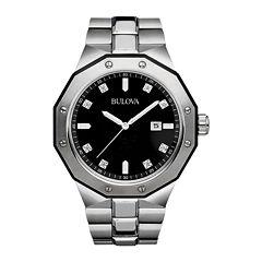 Bulova® Mens Diamond-Accent Stainless Steel Watch