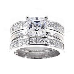 DiamonArt® Cubic Zirconia Sterling Silver Princess-Cut Bridal Ring and Guard Set