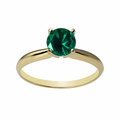 Womens Lab Created Emerald 14K Gold Solitaire Ring