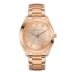 Caravelle New York® Womens Crystal-Accent Rose-Tone Stainless Steel Watch 44L160