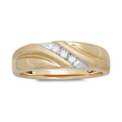 Mens 1/10 CT. T.W. Diamond 10K Yellow Gold 3-Stone Slant Ring