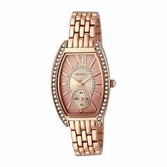 Geneva Womens Gold-Tone Rhinestone Bracelet Watch