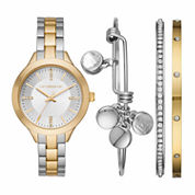 Liz Claiborne Womens Two Tone Watch Boxed Set-Lc9044