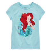Disney Girls Little Mermaid Sparkle Graphic T-Shirt