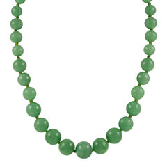 14K Gold Jade Graduated Bead Necklace