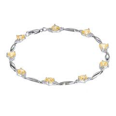 Genuine Citrine Heart-Shaped Sterling Silver Bracelet