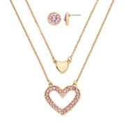Monet® Rose-Tone Pink Crystal Heart Pendant Necklace and Earrings Boxed Set